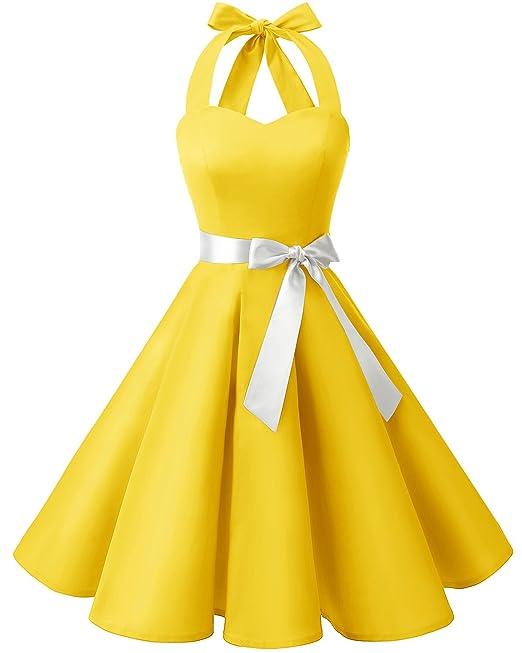 Bridesmay Mujers Vintage 50s Vestidos Halter Retro Sin Mangas Cocktail Vestido Yellow S