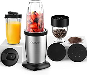 KOIOS 850-Watt Personal Blender for Shakes and Smoothies, 11 Piece Set Small Portable Blender Mixer, Multifunction Single blender Includes 17 and 10 Oz Cups with 2 Spout Lids, Travel Sport Bottles, Black