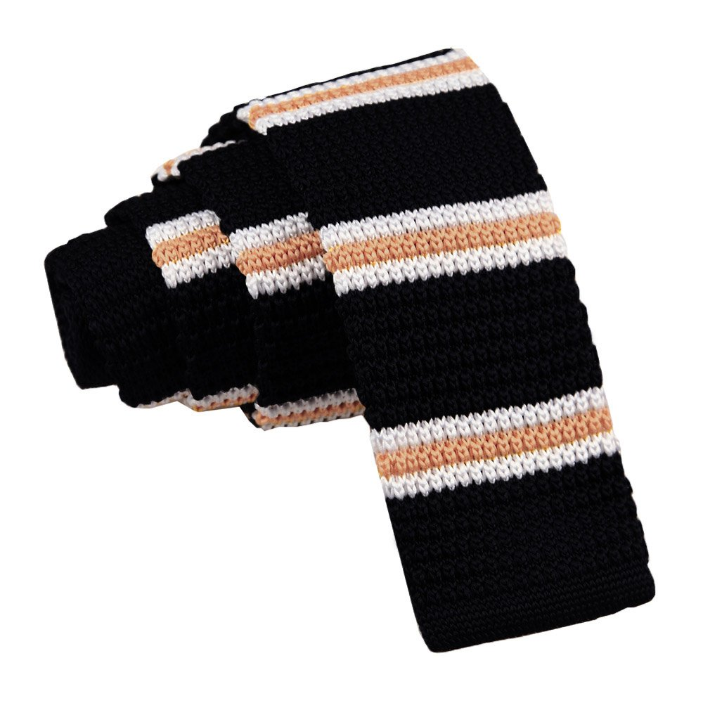 9afe5ecd8136 DQT Men Knit Knitted Thin Stripe with 2 Borders Skinny Tie Black with  Yellow & White: Amazon.co.uk: Clothing