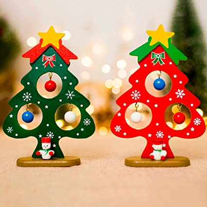 Amazoncom Papwoo Wooden Christmas Tree 2pcsset Mini Painted Wood