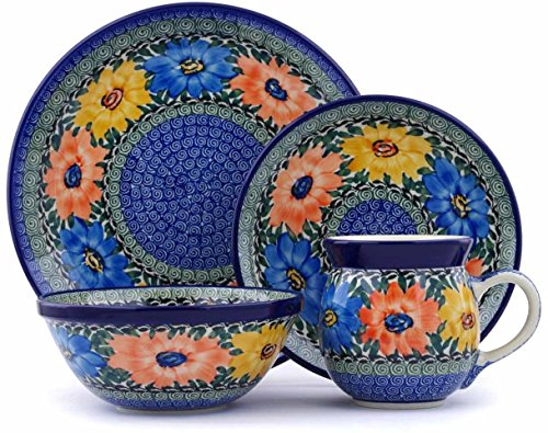 Polish Pottery 4-Piece Place Setting made by Ceramika Artystyczna (Summer Dance Theme) Signature UNIKAT + Certificate of Authenticity by Polmedia Polish Pottery