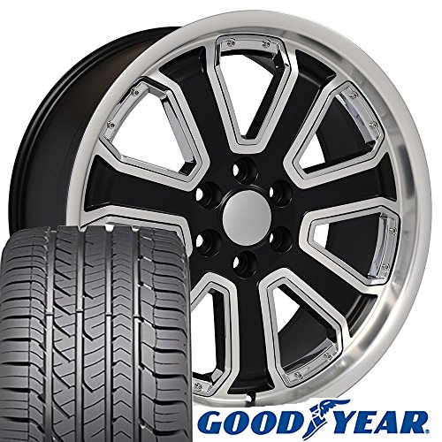 22x9.5 Wheels & Tires fit GM Trucks and SUVs - Chevrolet Silverado Style Chrome Insert Satin Black Machined Rims and Goodyear Tires, Hollander 5661 - SET (Suv Black Machined)