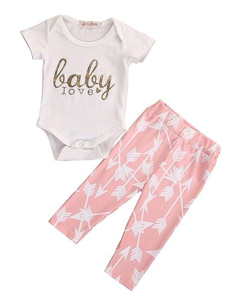 2 piezas/3 piezas Pelele de bebé recién nacido Niñas Ropa De Bebé Conjunto Camiseta + Pantalones Ropa - Rosado - : Amazon.es: Ropa y accesorios