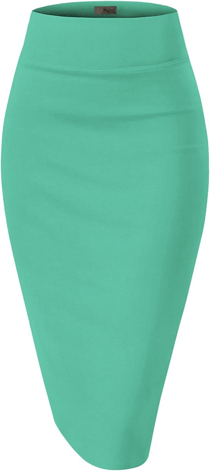 H&C Womens Premium Nylon Ponte Stretch Office Pencil Skirt Made Below Knee