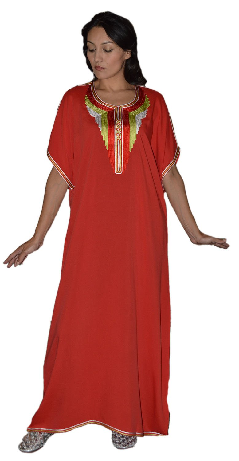 Moroccan Caftan Handmade Cotton Blend Hand Embroidery Breathable Soft Red Fits Small to Large Treasures Of Morocco Radya Caftan Red