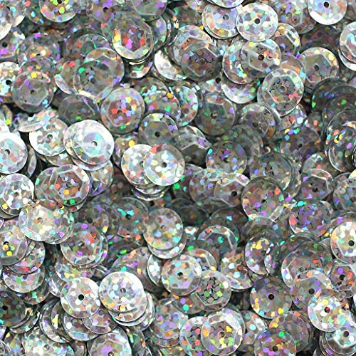 Basic Craft Supplies - Sequin Facet 8mm Cup Loose Paillette - Ultra Silver Laser Hologram Metallic - Trim, Embellish, and add Sparkle to Anything You Desire.