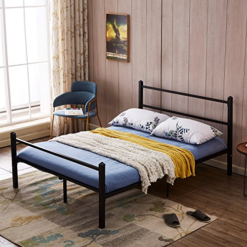 GreenForest Heavy Duty Bed Frame Queen Size Non-slip Metal Frame Bed with Headboard and Footboard Steel Slat Bed Platform Mattress Support Foundation