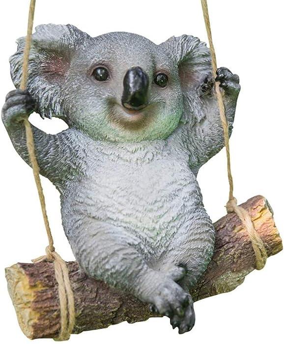 Koala Bear Ornaments, Koala Bear Swing, Outdoor Resin Sculpture Ornaments, Garden Statue Animal Figure Sculpture Decoration for Patio Yard Lawn 22 x 13 x 24 cm
