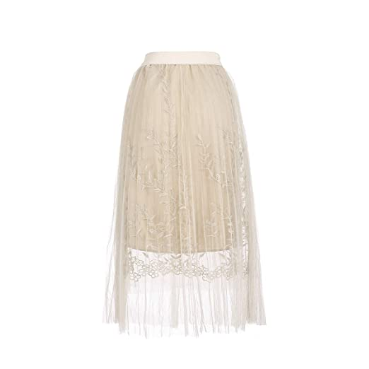 3af1ec02ad69 Women Summer Floral Embroidery A Line Lace Tulle Tutu Mesh Skirt Pleated Skirt  Midi Skirt (