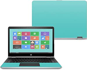 """Mightyskins Skin Compatible with Hp Pavilion X360 14"""" (2017) - Solid Turquoise   Protective, Durable, and Unique Vinyl Decal Wrap Cover   Easy to Apply, Remove, and Change Styles   Made in The USA"""