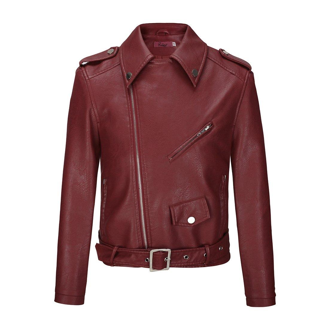 LOKTARC Women's Faux Leather Moto Biker Zip Up Short Jackets with Belt