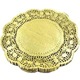 LoBake 12 inches golden round paper lace doilies cupcake bread placemats home dinner tableware 100 pieces per pack