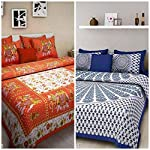 BedZone 100% Cotton Rajasthani Jaipuri King Size bedsheets Combo Double Bed Set 2 Double Bedsheet with 4 Pillow Cover – Multicolor