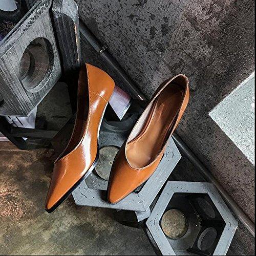 Xue Qiqi Court Schuhe der Wilde Wilde der Flache Mund der Spitzen Schuhe mit Einer Einzelnen Schuhfrau mit Schaufelschuhen Zum von Hohen Absätzen 35 Braun zu Arbeiten afc92a