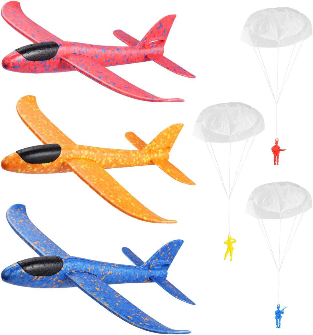 Toyvian Aviones Planeador, 3pcs 37cm Avión Espuma Lanzamiento con 3 Paracaidistas Modelo de Vuelo de Avión Ligero de Espuma para Niños