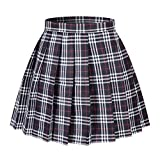 Beautifulfashionlife Girl's A-Line Kilt Plaid Pleated Skirts (XS,Dark Blue Mixed White)