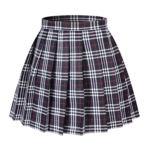 Beautifulfashionlife Girl's Japan Cosplay Anime Costumes Skirts (S,Dark Blue Mixed White)