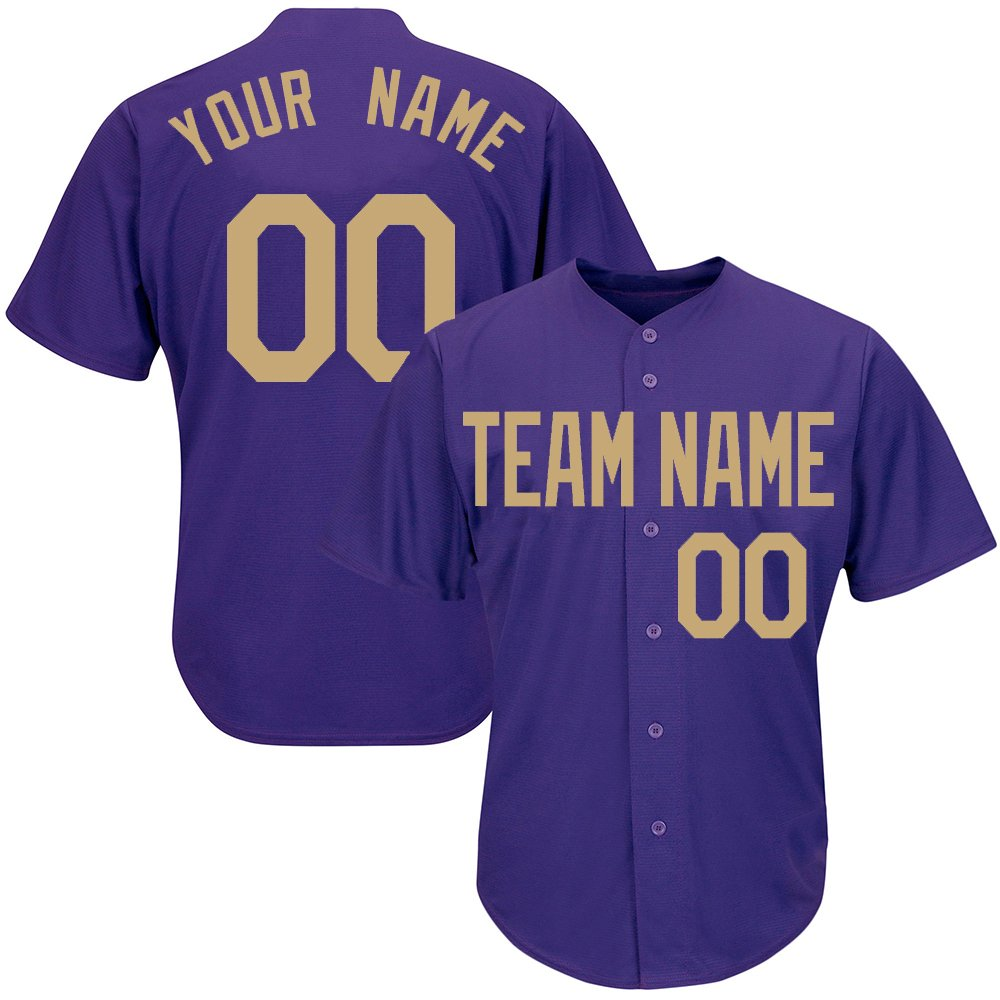 Custom Youth Purple Baseball Softball Jersey with Embroidered Your Name and Numbers,Gold Size 2XL by DEHUI