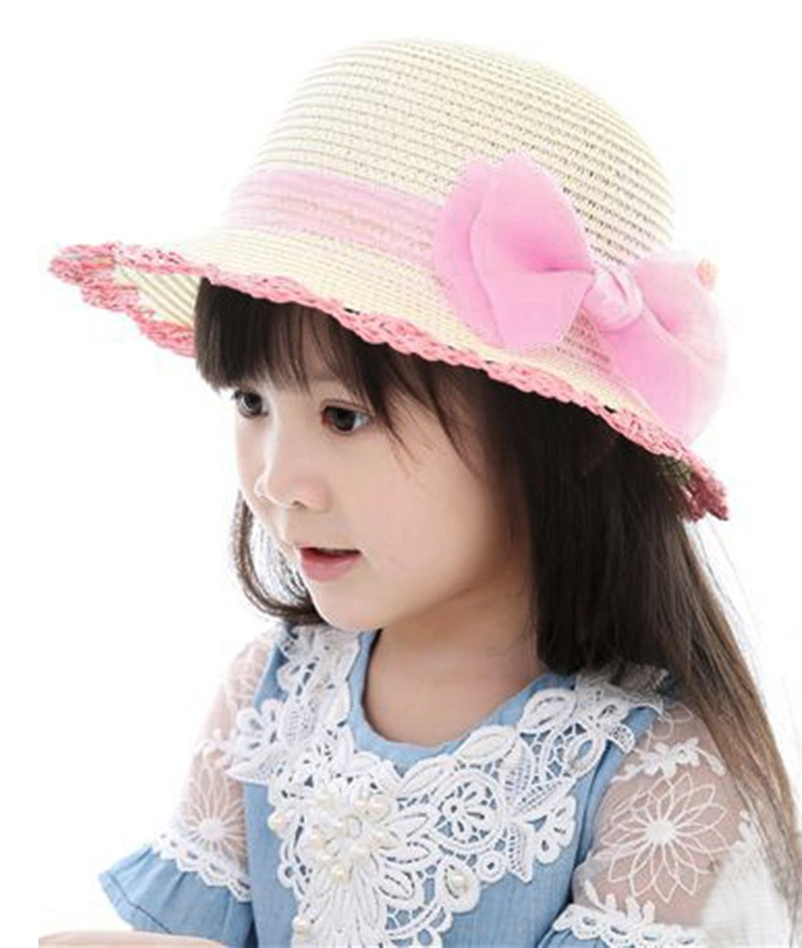 Junior Girl Kids Summer Wide Brim Straw Sun Protection Hat with Lace Bowknot