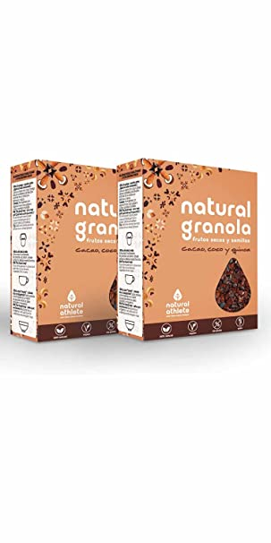 Granola -Natural Athlete- Desayuno con frutos secos y semillas - 100% natural, sin azúcar refinado. Pack 4x325gr (Cacao, coco y quinoa): Amazon.es: ...