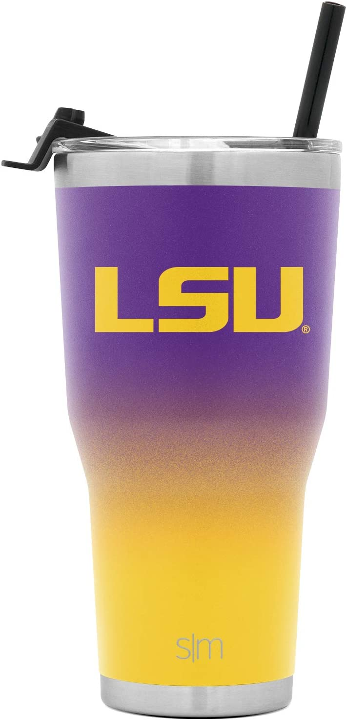 Simple Modern College 30oz Cruiser Tumbler with Straw & Closing Lid - LSU Tigers - Fusion 2 Tone 18/8 Stainless Steel Vacuum Insulated NCAA University Cup Mug