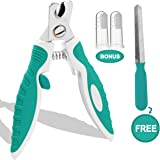 Dog Nail Clippers Trimmers with Quick Sensor and Safety Guard for Small Medium Large Dogs and Cats Claw Clippers, Pet Nail Cutters for Thick Nails with Free Nail File & Dog Toothbrushes
