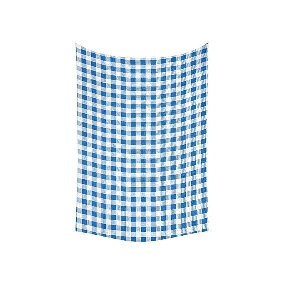 YSJXIM Tapiz con Textura Azul y Blanco Plaid de Fondo Tapices de Pared Flor Tapiz de Pared Indio Dormitorio Decoración para Sala de Estar ...