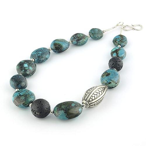 d8803eb3cb7a Collar de turquesa y plata de ley con piedras gandes ovaladas color azul y  50 cm