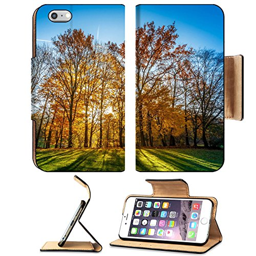 Liili Premium Apple iPhone 6 Plus iPhone 6S Plus Flip Pu Leather Wallet Case Colors of Autumn Fall Golden sun coming through the branches of a golden colored tree with - Sun Shop Branches