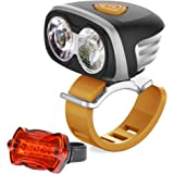 VICMAX Low Beam Lights and High Beam Lights System with Bicycle Light, 2Pcs x Cree XM-L2 U2 Led Bicycle Light, 4PCSx2200mAh Battery Pack with Waterproof Plastic Box -Free 5 Led