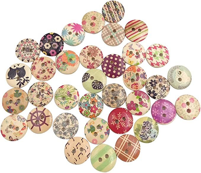 100Pcs DIY Random Multi-colors Round 2 holes Resin buttons For sewing scrapbook