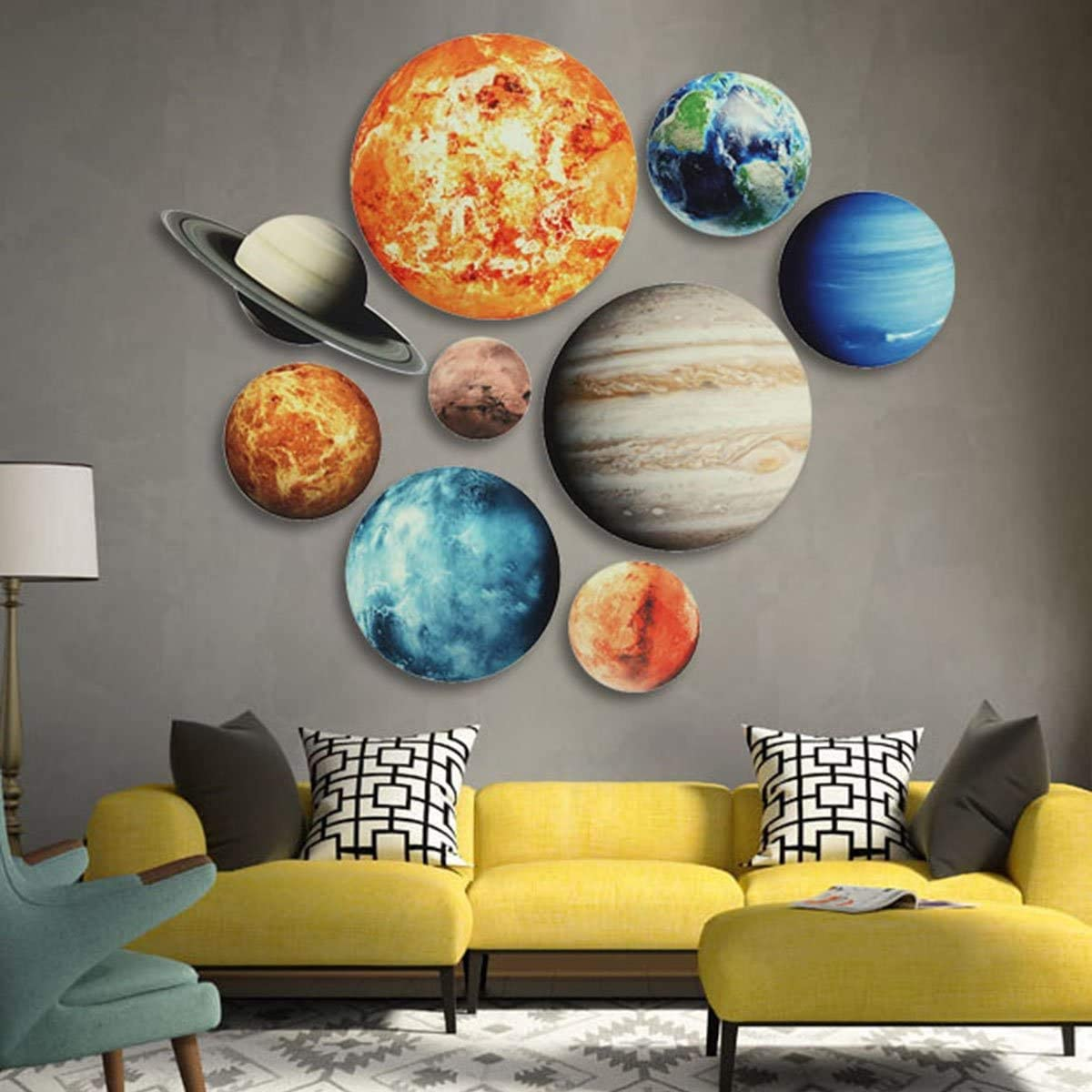 Glow in The Dark Stars for Ceiling, Gayrrnel 10 Glowing Ceiling Decals Solar System - 3D Space Decor Wall Stickers for Home and Room Decoration - Glow in The Dark Stickers Planets Kids Room Decor