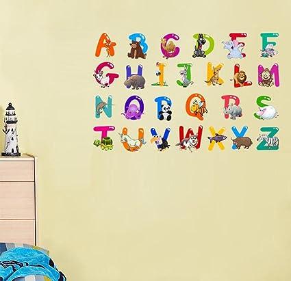 Bibitime Diy 26 English Letters Character Alphabet Vinyl Wall Decals Animal Sticker For School Classroom Nursery Children Bedroom Kids Room Decor