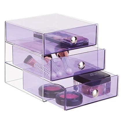 mDesign – Cajonera con tres gavetas – Organizador de escritorio con tres cajones en color morado – Práctico organizador de maquillaje con gavetas de ...