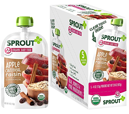 Sprout Organic Baby Food Pouches Stage 2 Sprout Baby Food, Apple Oatmeal Raisin with Cinnamon, 4 Ounce (Pack of 5); USDA Organic, Non-GMO, Made with Whole Foods, No Preservatives, Nothing Artificial