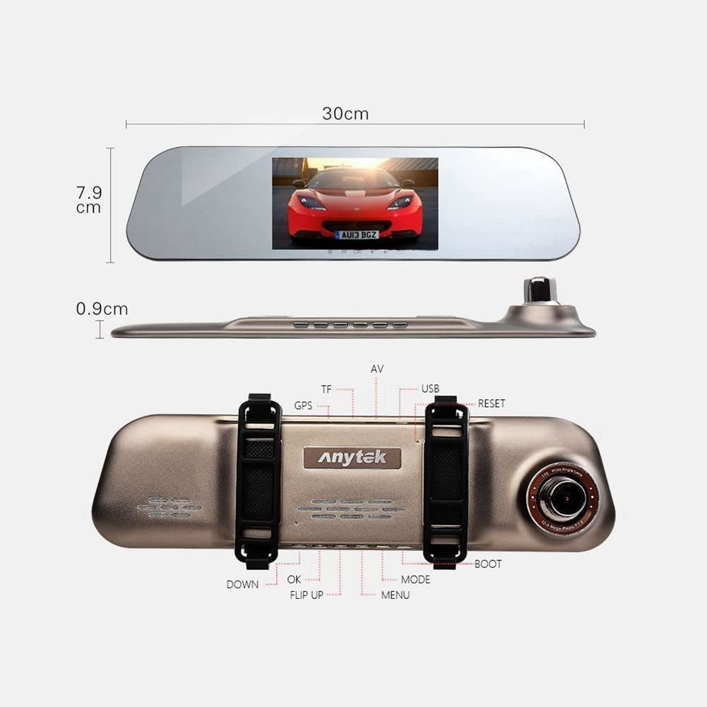 16GB TF Card Anytek @A80 Card Dash Cam HD 1080p Dual Lens DVR Camera Car Video Recorder Ultra thin Rearview Mirror Car Dashboard Camera G-Sensor Gesture sensing Dash Cam