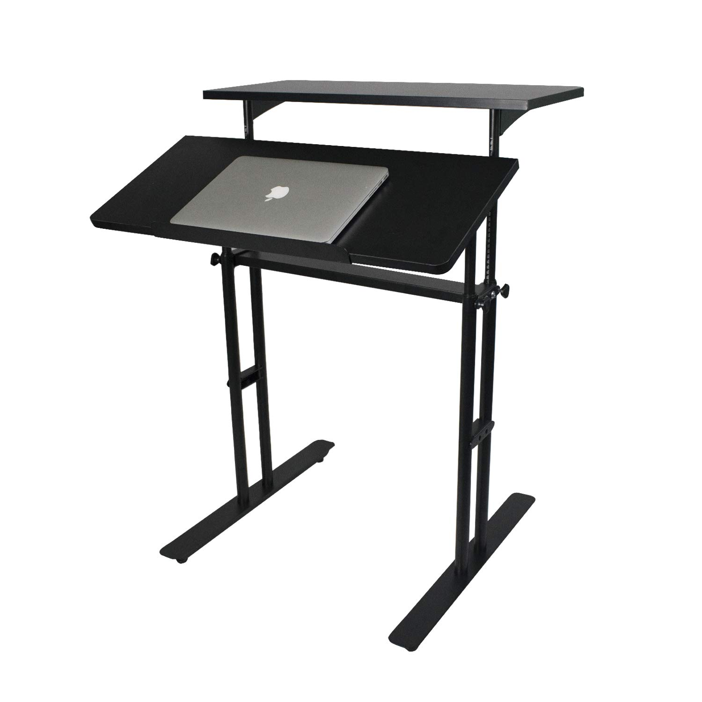 Height Adjustable Standing Desk, Home Office Stand up Desk Riser, Yuiky (Black)