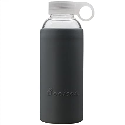 8d3050226b Bonison Summer Sale Durable Glass Water Bottle with Soft Colorful Silicone  Sleeve Handle Lid 14 Oz