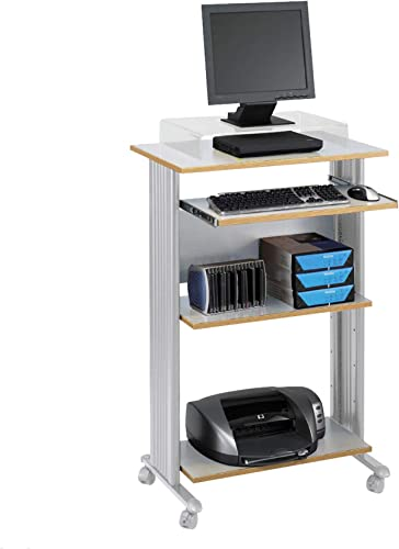 Safco Products Muv 45 H Stand-Up Desk Fixed Height Computer Workstation with Keyboard Shelf, Gray