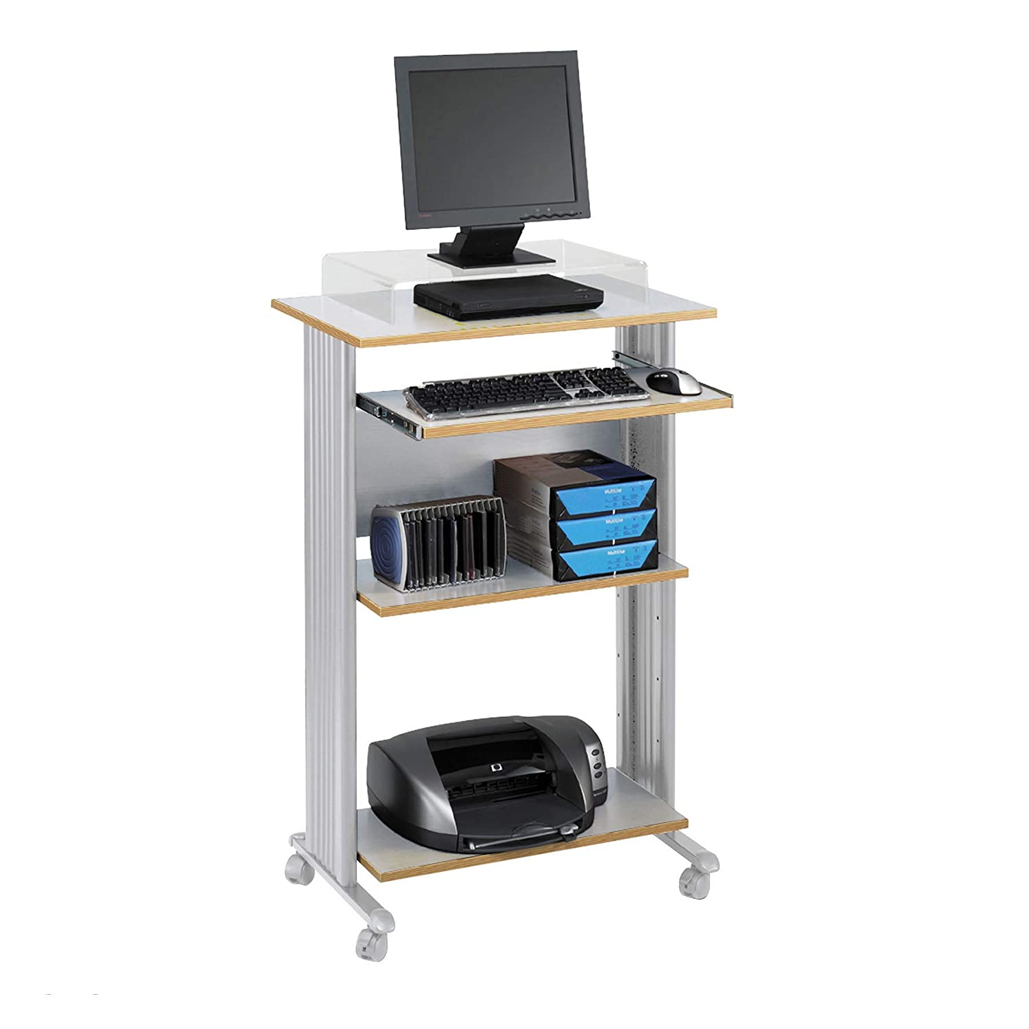 """Safco Products 1923GR Muv 45"""" H Stand-Up Desk Fixed Height Computer Workstation with Keyboard Shelf, Gray"""