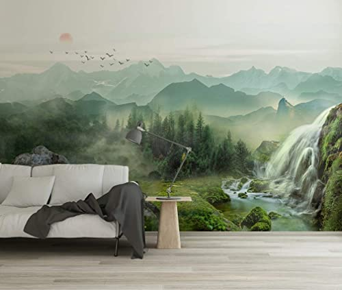 Amazon Com Murwall Waterfall Wallpaper Misty Landscape Wall Mural Sunrise Wall Print Country Style Home Decor Cafe Design Living Room Handmade