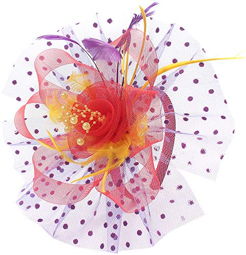 - Flower Cocktail Tea Party Fascinators Feather Headwear Top Hats Wedding Headband for Women (009-Red&Yellow&Purple)
