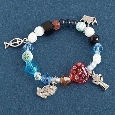 (Communion Story Colored Glass Beaded Girl's Stretch Fashion Bracelet in Giftbox)