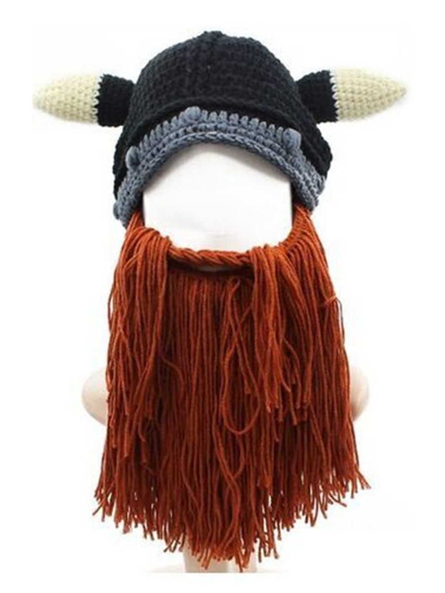 Mitario Femiego Men's Original Barbarian Knit Viking Beard Hat Beanie Cap Brown