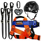Fusion Climb Tactical Edition Kids Commercial Zip Line Kit Harness/Dual Lanyard/Carabiner/Trolley/Helmet Bundle FTK-K-HLLCTH-01