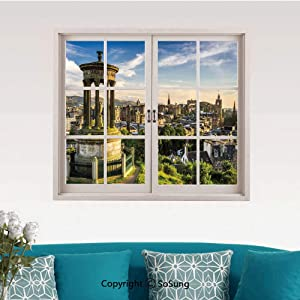 """Cityscape Removable Wall Sticker/Wall Mural,Edinburgh Town Aerial View of Historical Buildings Heritage Panorama Art Creative Close Window View Wall Decor,24""""x32"""",for Bedroom & Living Room&Study Roo"""