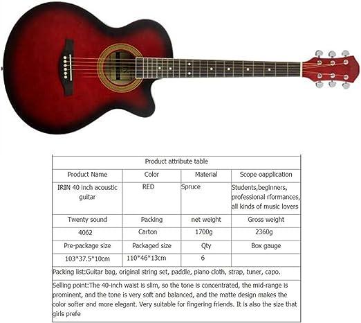 KJUHVBF Guitarra de 40 \, ángulo de Bala, Picea, Mate, portátil ...