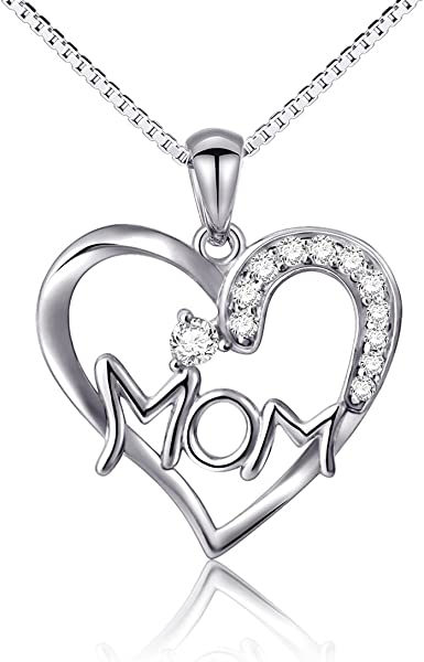 925 STERLING SILVER Heart Pendant Jewelry Gift Engraved I LOVE YOU MOM NECKLACE