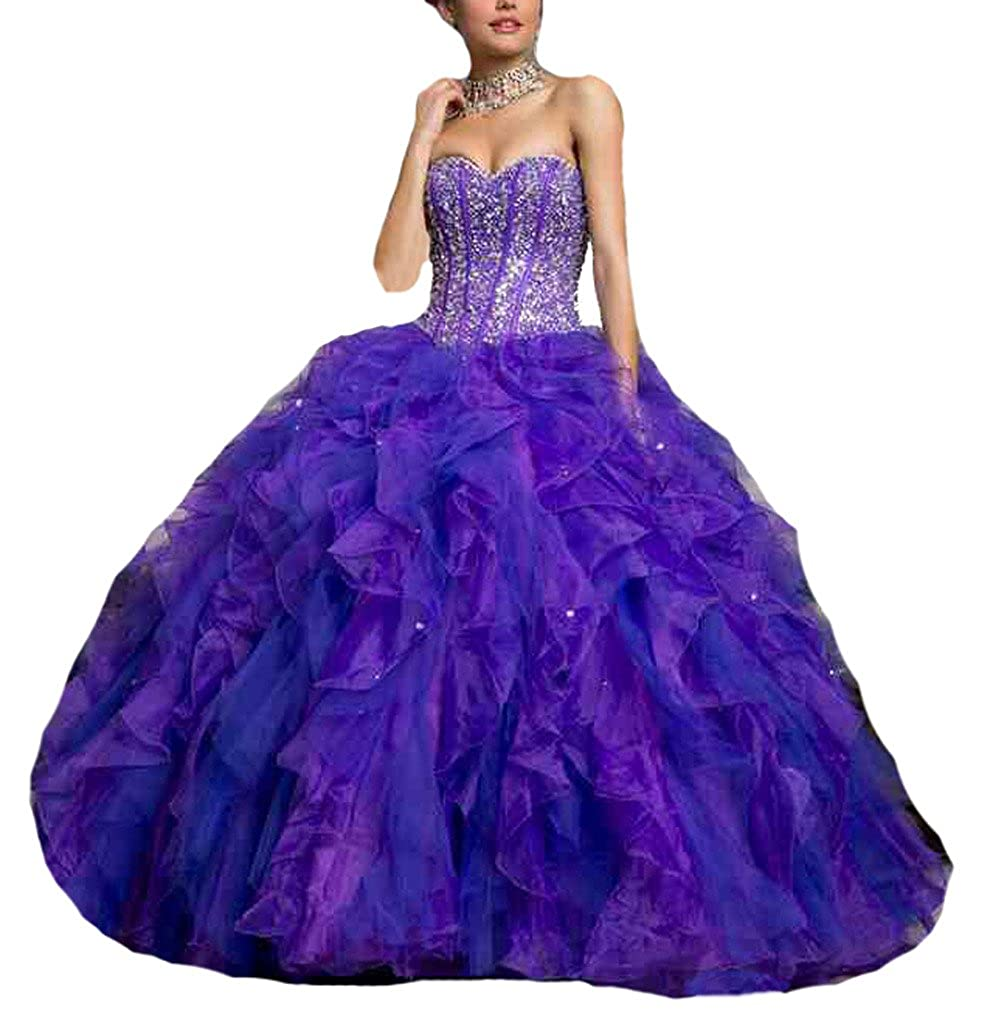 Dearta Womens Sweetheart Floor-Length Organza Quinceanera Dress at Amazon Womens Clothing store: