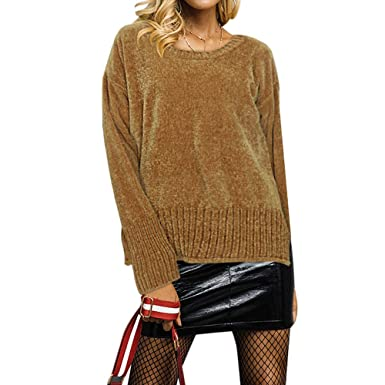 e4abfa9dd4e5 VEMOW Womens O-Neck Long Sleeve Plus Size Fashion Acrylic Top for Women  Solid Sweater Blouse for Women  Amazon.co.uk  Clothing